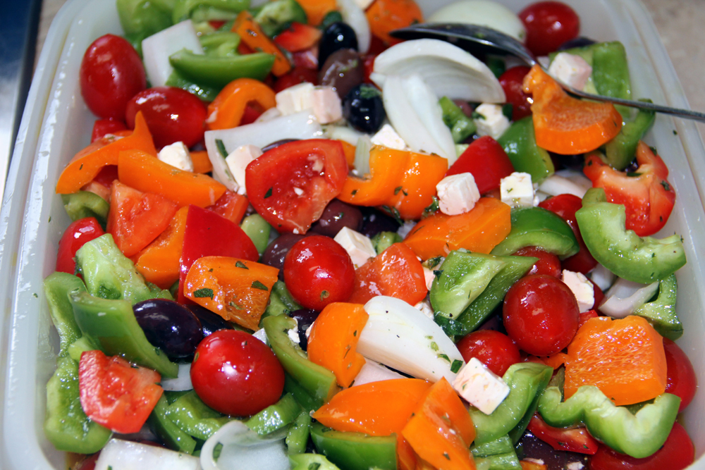 grilled greek salad marinated veggies