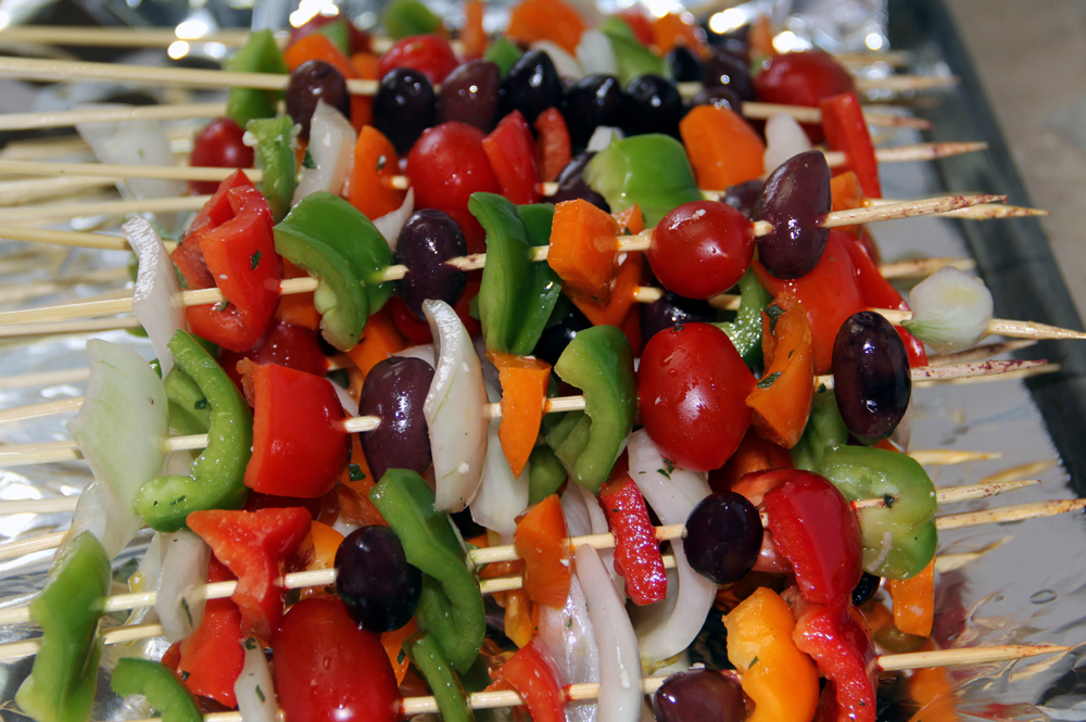 grilled marinated veggies on skewers